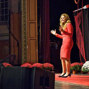 Dolores at a tedx stage
